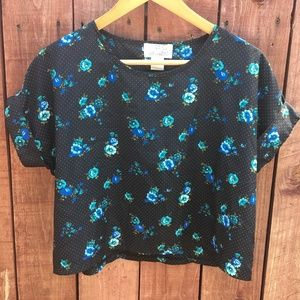Black with Blue Flowers & Dots Liberty Love Top